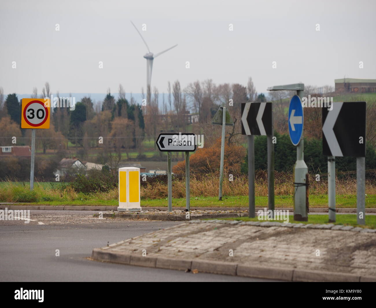 Prison road sign for the Sheppey cluster of prisons (Swaleside, Elmley and Stanford Hill). - Stock Image