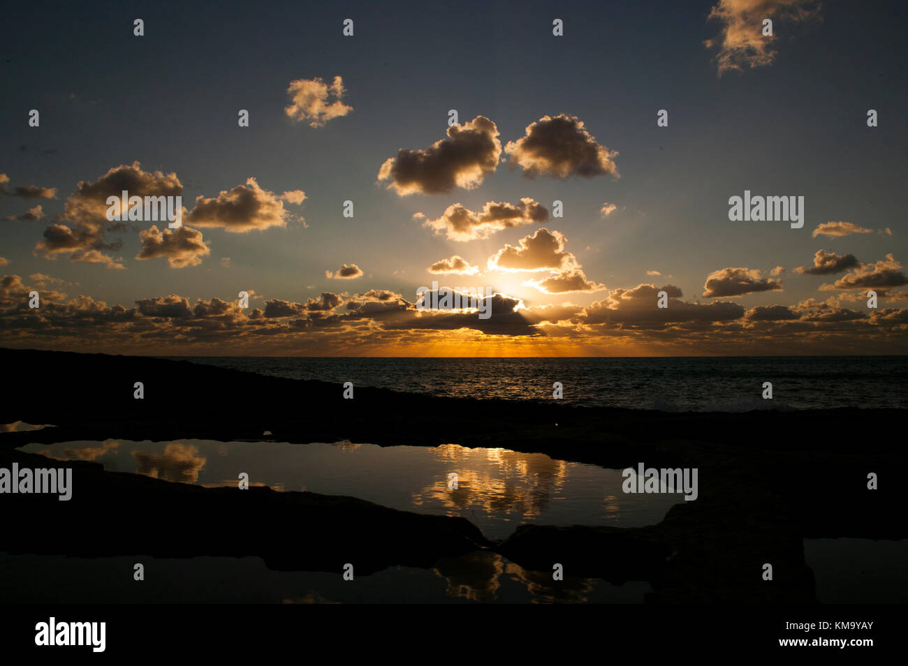 Sunset over the Salt pans - Stock Image