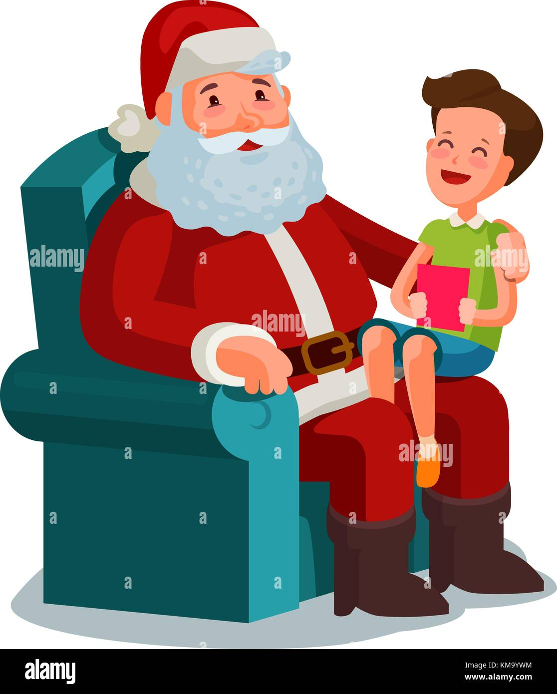 Christmas or New Year. Happy child sitting on lap of Santa Claus. Cartoon vector illustration - Stock Vector