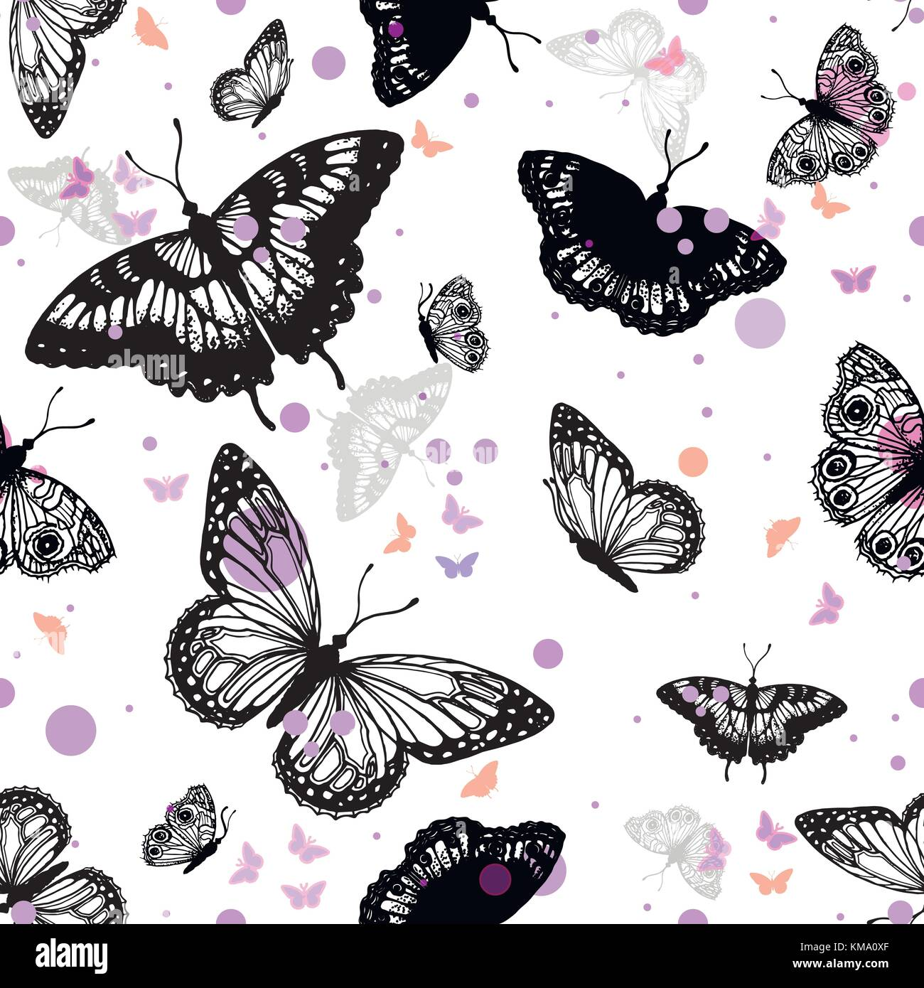 Seamless vector pattern of hand drawn sketch style butterflies. - Stock Image