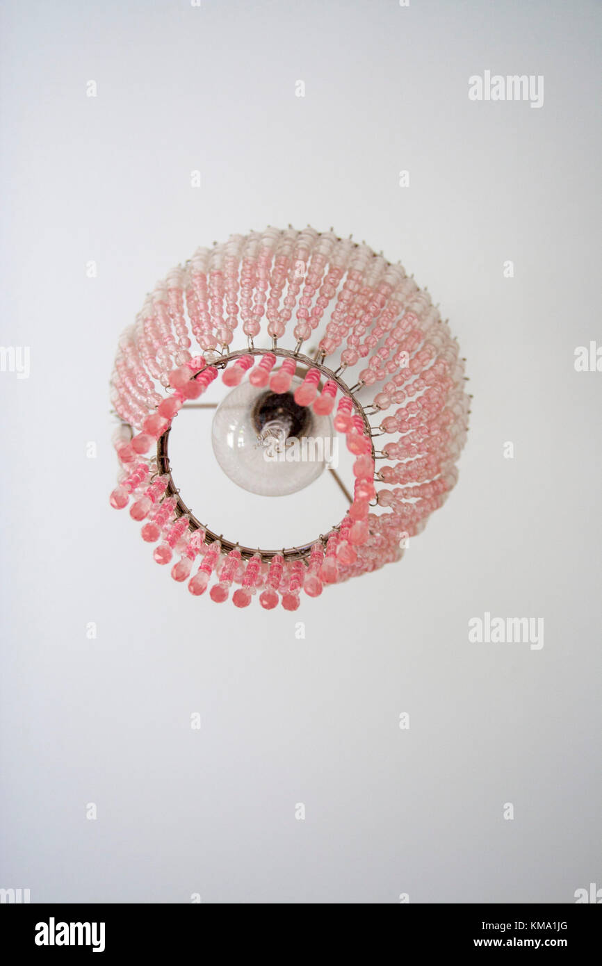 Picture of: Pink Chandelier Lampshade Hanging From The Ceiling In A Child S Stock Photo Alamy