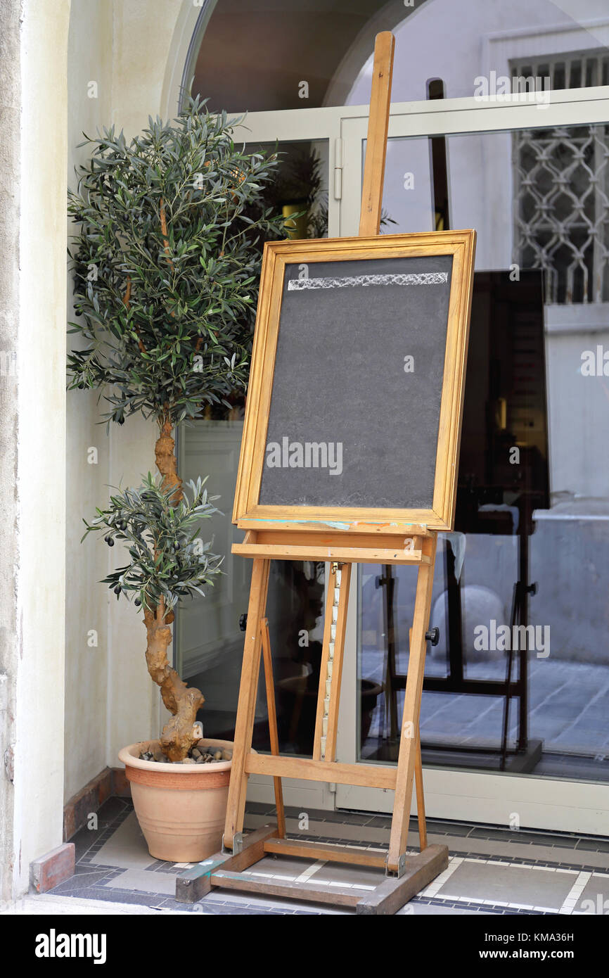 Easel Menu Frame in Front of Restaurant Stock Photo: 167408489 - Alamy