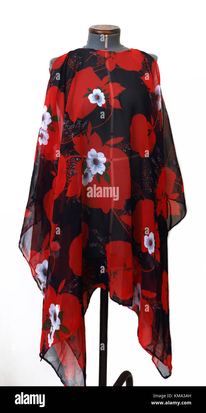 Sheer Chiffon Poncho with Red Flowers - Stock Image