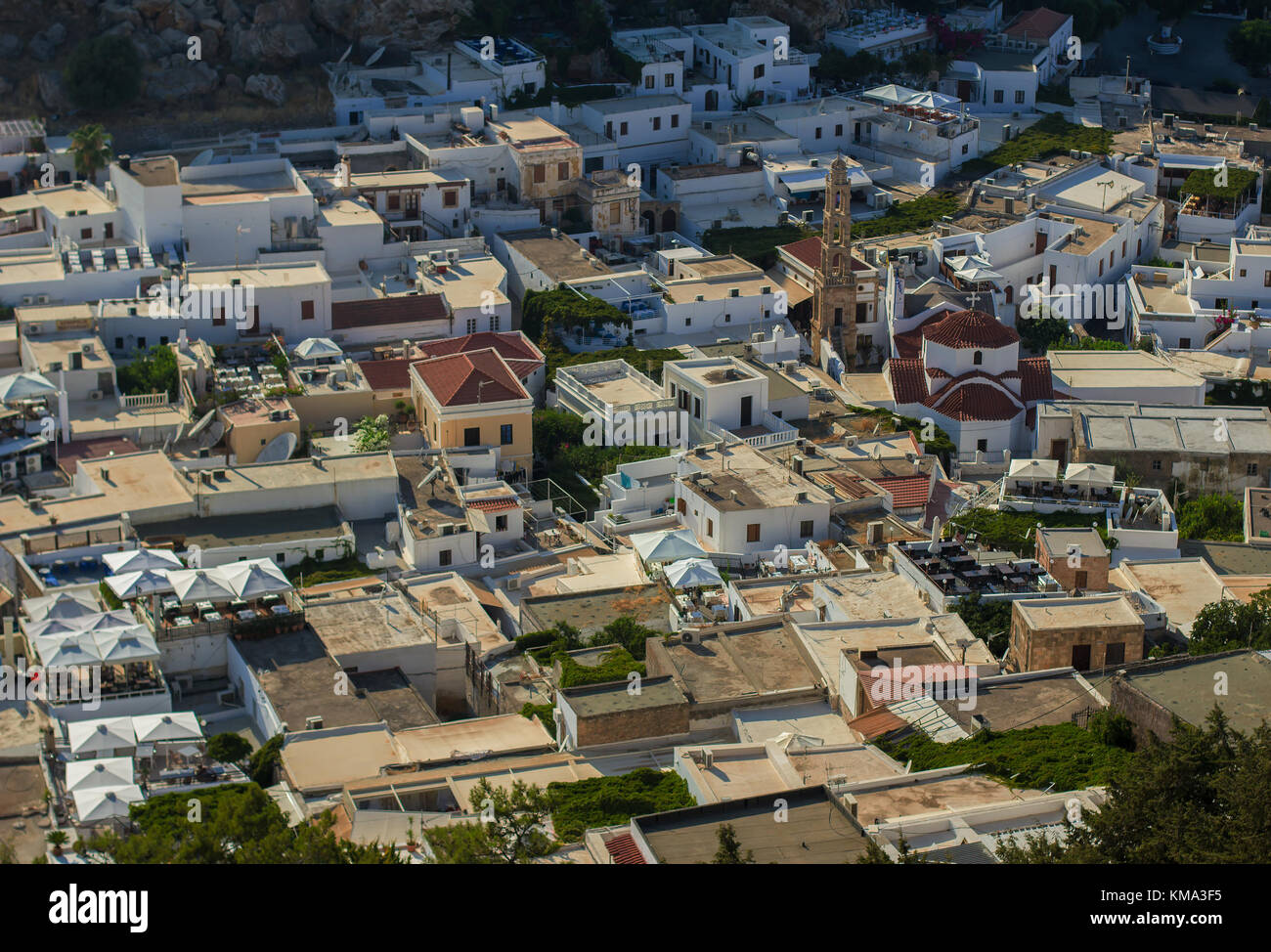 Lindos bird eye view over white roofs - Stock Image