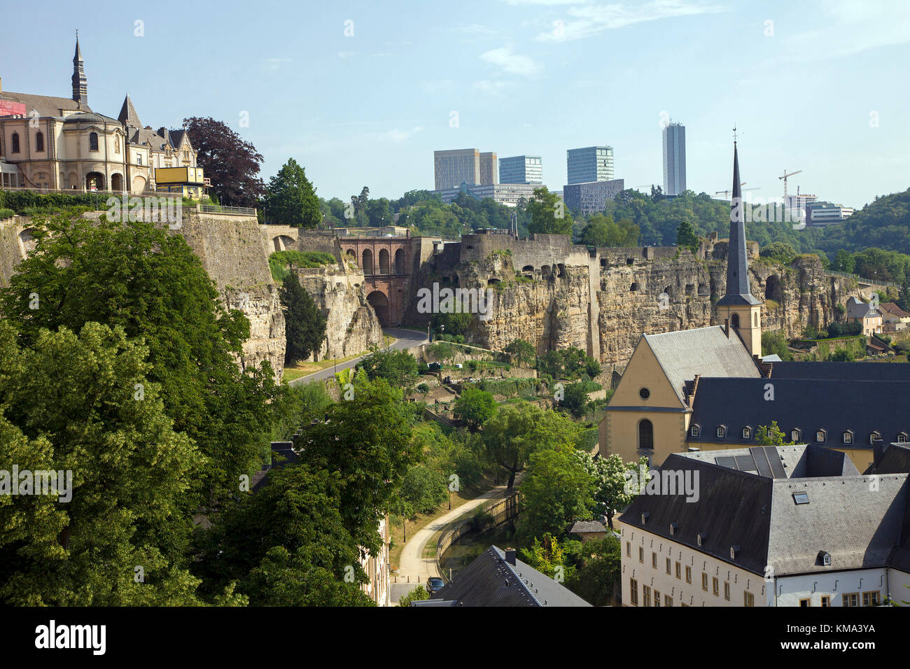 View from the old town wall to church St. Johannes, behind the europe district on Kirchberg, Luxembourg-city, Luxembourg, - Stock Image