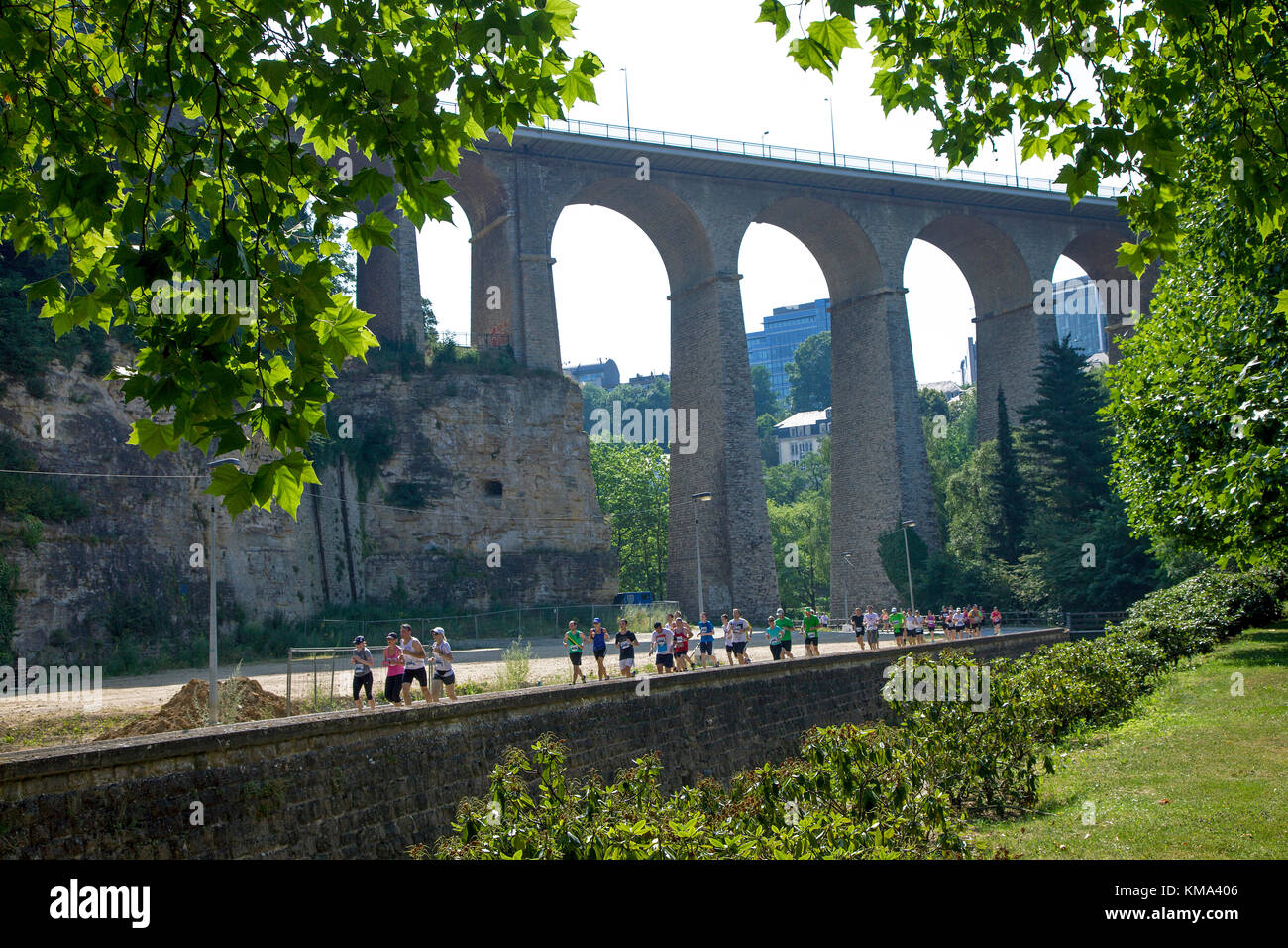 J.P. Morgan City Jogging, Viaduct, also known as Passerelle or old bridge, Luxembourg-city, Luxembourg, Europe - Stock Image