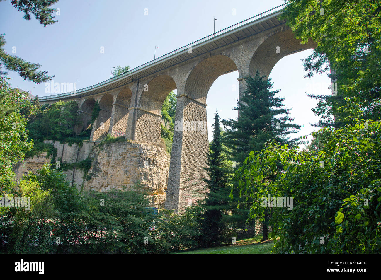 Viaduct, also known as Passerelle or old bridge, Luxembourg-city, Luxembourg, Europe Stock Photo
