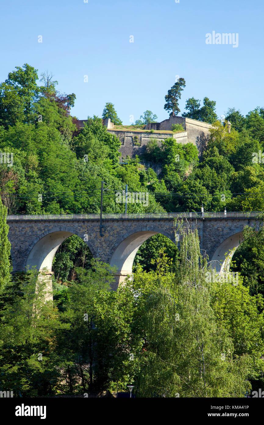 Pfaffenthal viaduct, a railway bridge at Luxembourg-city, Luxembourg, Europe Stock Photo