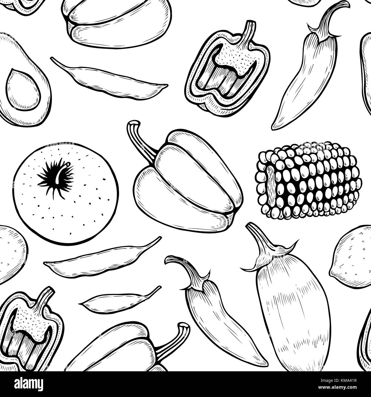 Vector seamless pattern with ink hand drawn vegetables, fruits and berries isolated on white for autumn or restaurant - Stock Vector