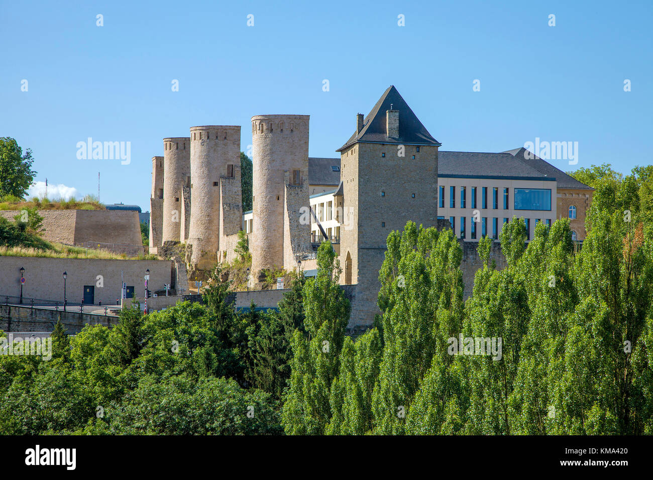 Towers a the Wenzels wall, old town of  Luxembourg-city, Luxembourg, Europe - Stock Image