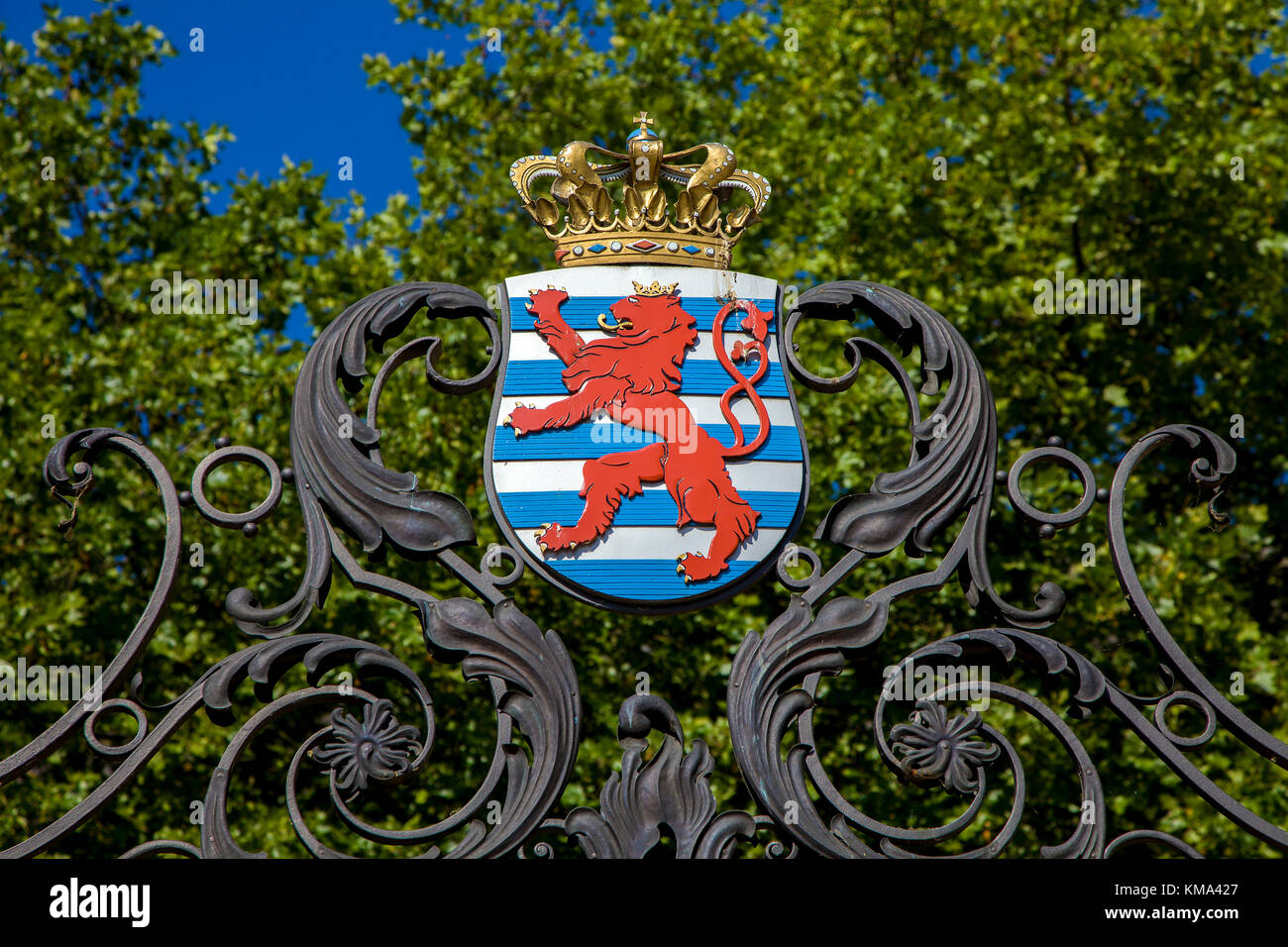 National coat of arms of Luxemburg, Luxembourg-city, Luxembourg, Europe - Stock Image