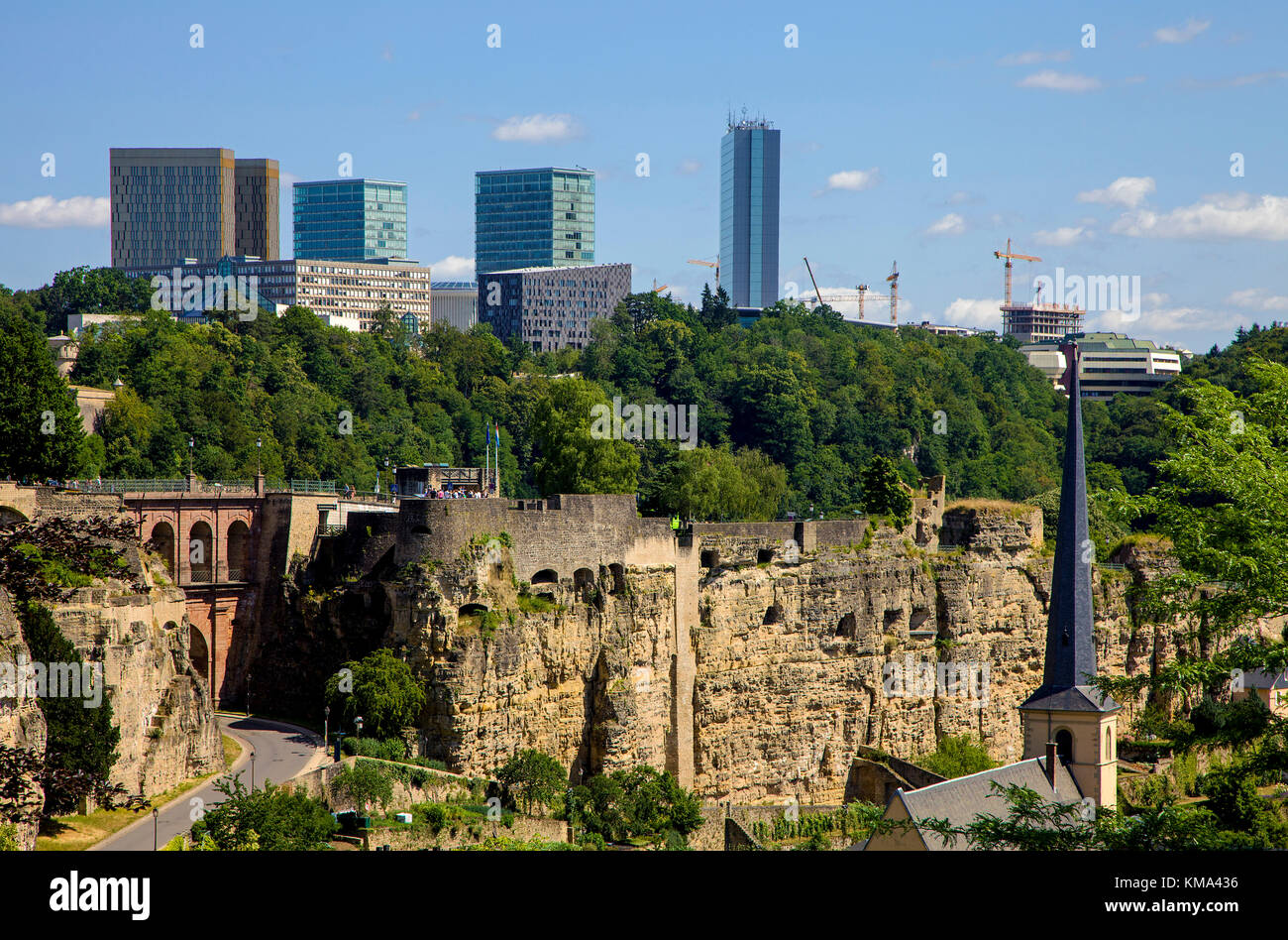View on Rham-Plateau and St. Johannes church, behind the europe quarter, finance district on Kirchberg, Luxembourg - Stock Image