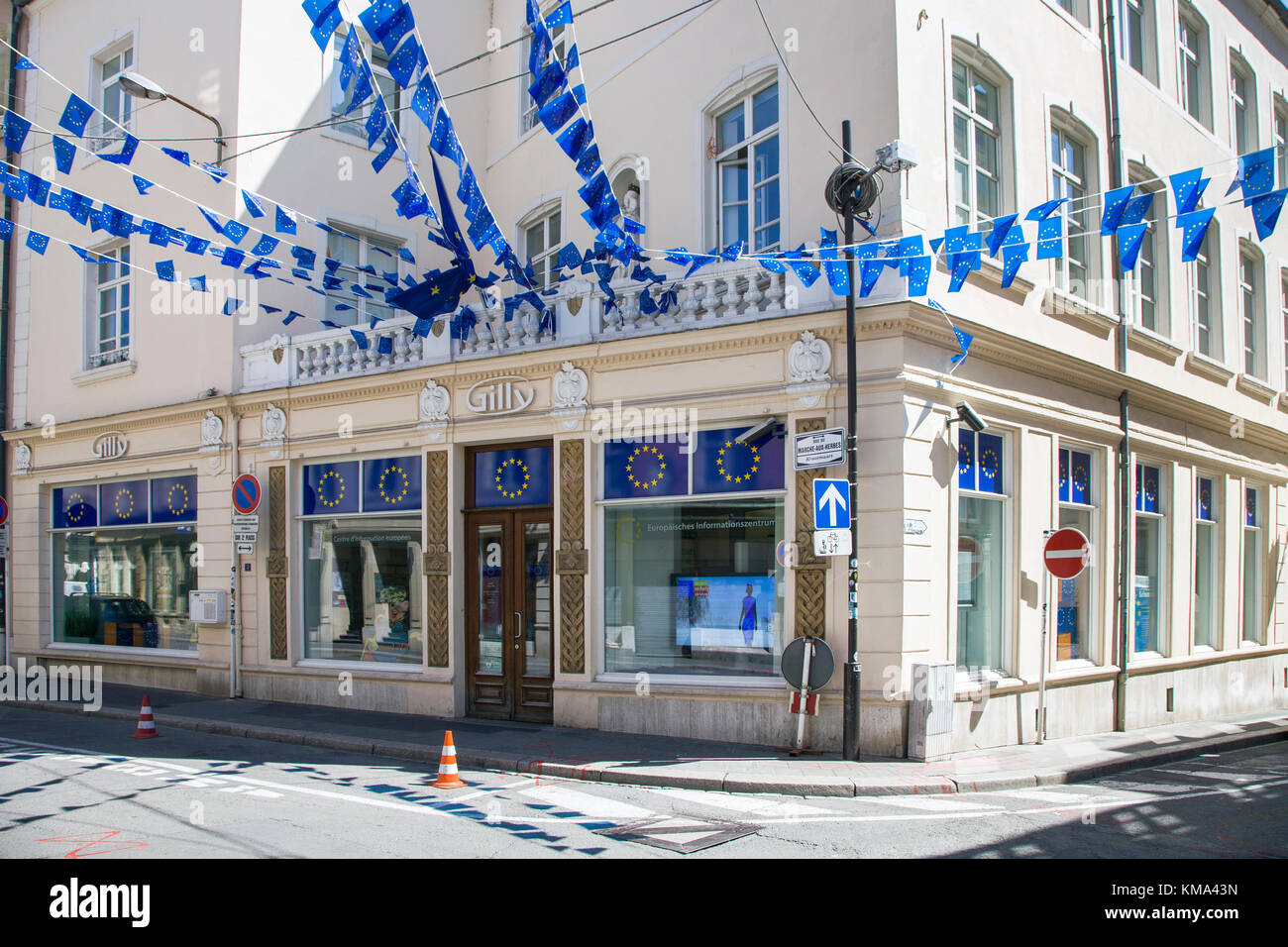 European Information center at Marche-Aux-herbes, Krautmaart, Luxembourg-city, Luxembourg, Europe - Stock Image