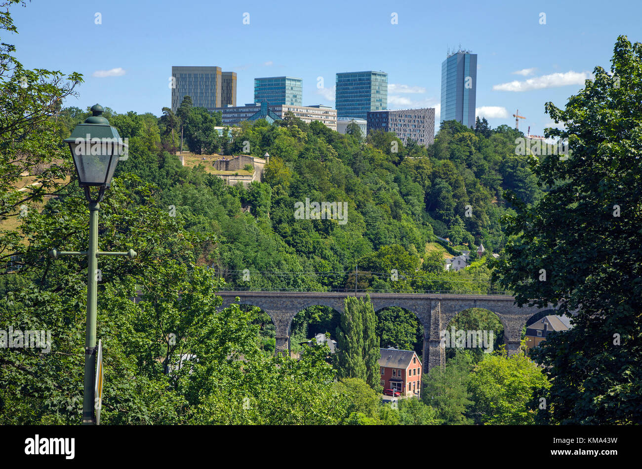 Europe district on Kirchberg and Pfaffenthal viaduct, Luxembourg-city, Luxembourg, Europe - Stock Image