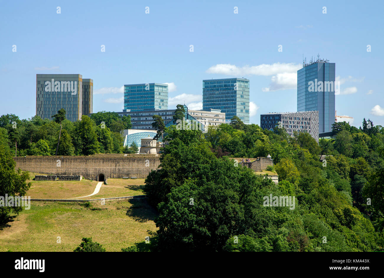 Fort Thuengen, behind the europe district on Kirchberg, Luxembourg-city, Luxembourg, Europe - Stock Image