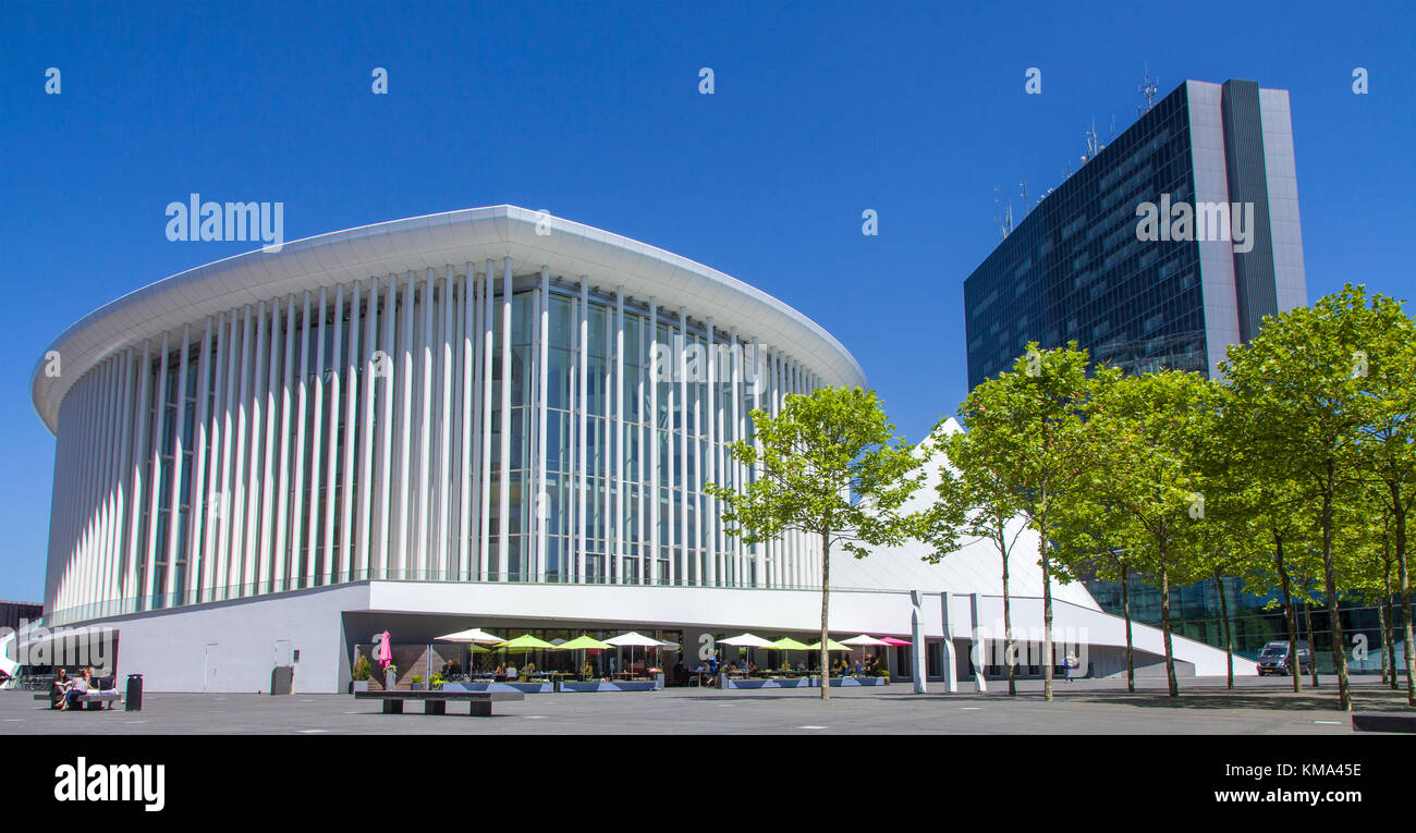 Philharmonic hall Luxembourg at Place de l'europe, Kirchberg plateau, Luxembourg-city, Luxembourg, Europe - Stock Image
