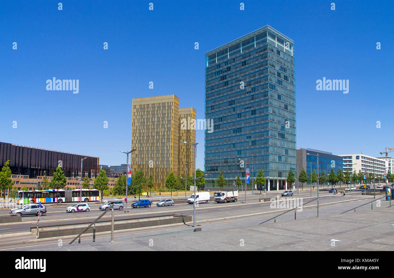 Office skyscraper and Twin tower of the european Court, Avenue John F. Kennedy, Kirchberg, Luxembourg-city, Luxembourg, - Stock Image