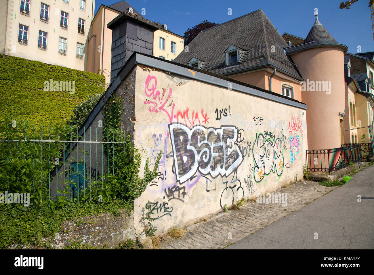 Graffiti at a mural, upper city, Luxembourg-city, Luxembourg, Europe - Stock Image