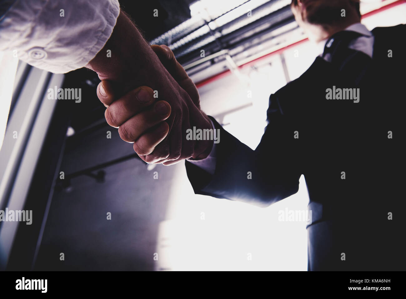 Handshaking business person in office. concept of teamwork and partnership - Stock Image