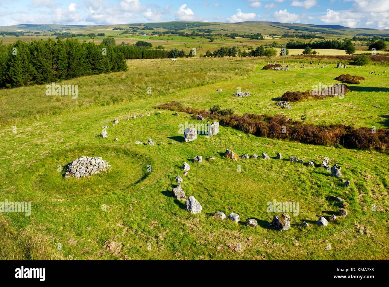Beaghmore prehistoric stone circles circle alignment alignments. Sperrin Mountains, Co. Tyrone, N. Ireland, UK date - Stock Image