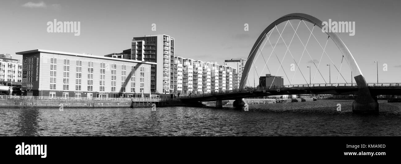 A view of the River Clyde, which includes the Clyde Arc. Stock Photo