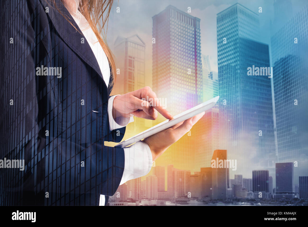 Businesswoman shares document with tablet. Internet concept - Stock Image