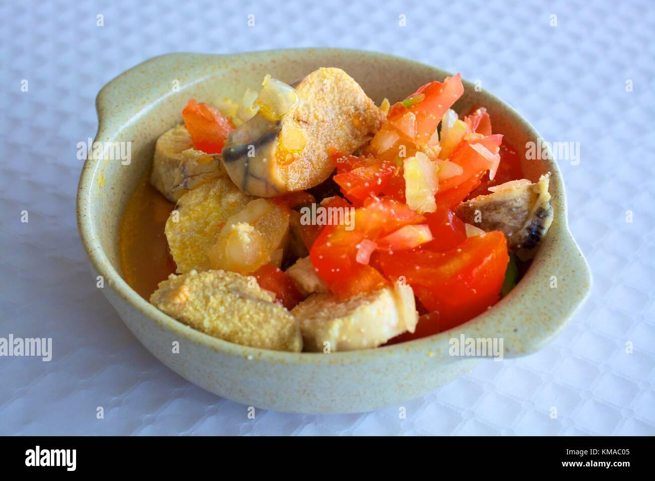 Fish Roe Appetiser, Eastern Algarve, Algarve, Portugal, Europe - Stock Image