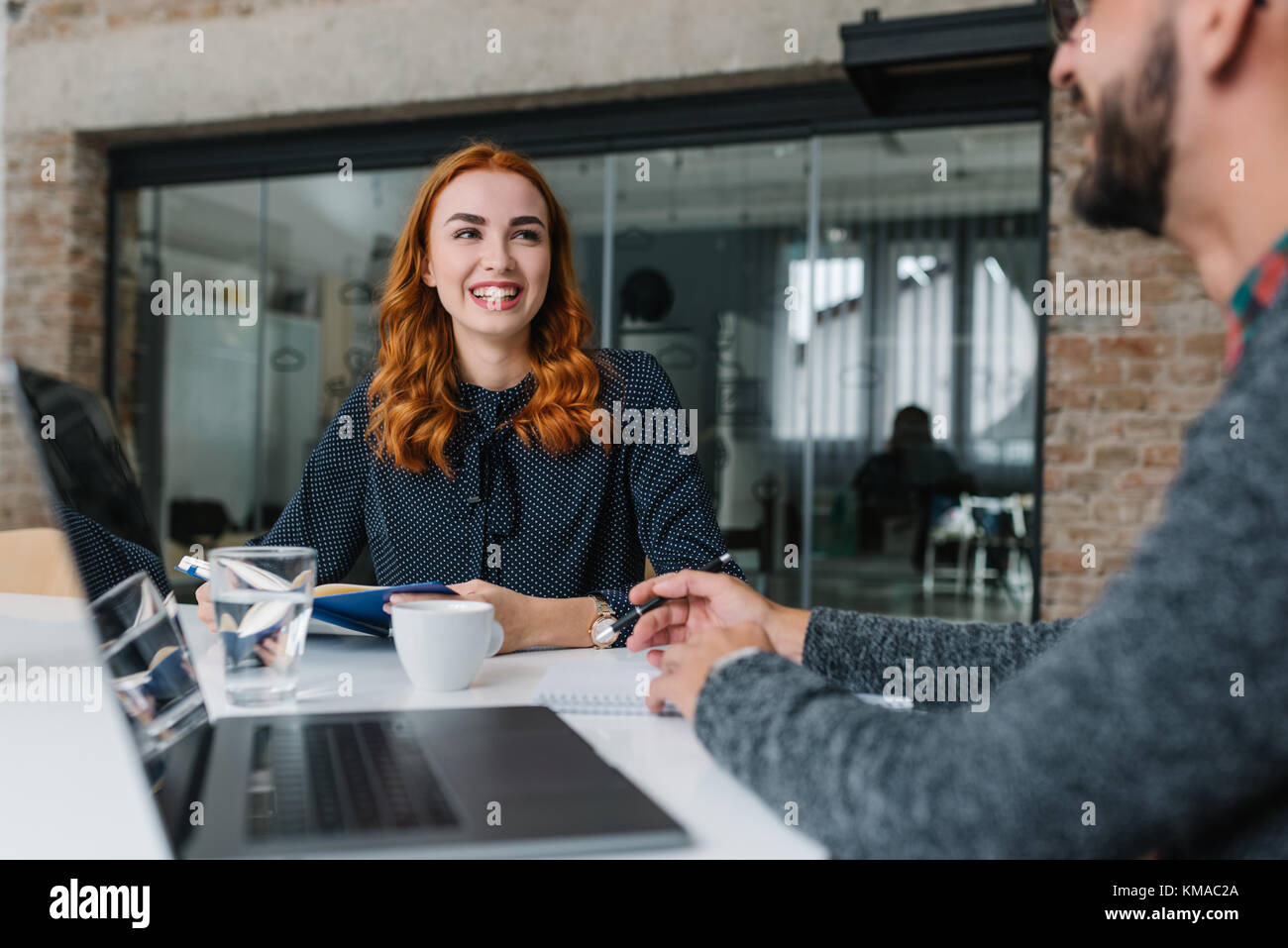 Having her first job interview - Stock Image