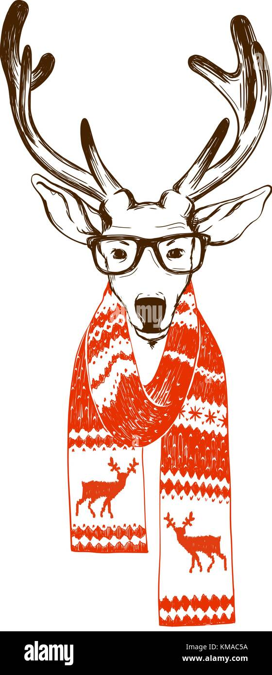 30eae6f1228 Portrait of a Christmas reindeer dressed in a winter scarf and hipster  glasses. - Stock