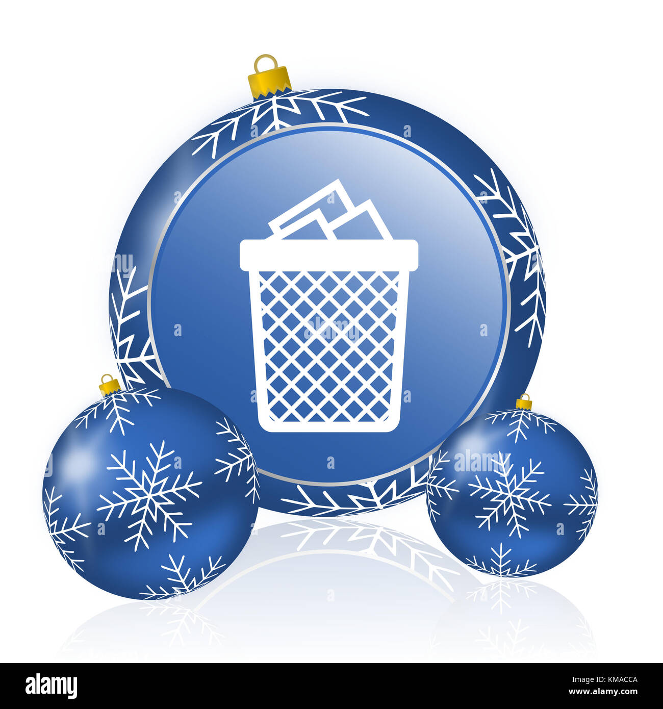 Trash can blue christmas balls icon - Stock Image