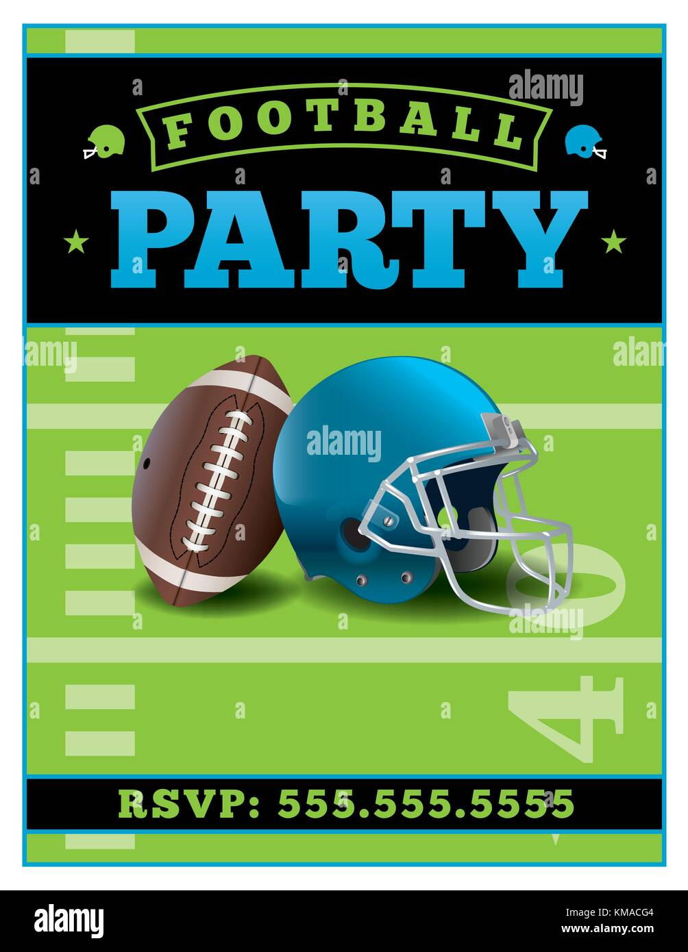 An American football party flyer template illustration. Vector EPS 10 available. Stock Vector