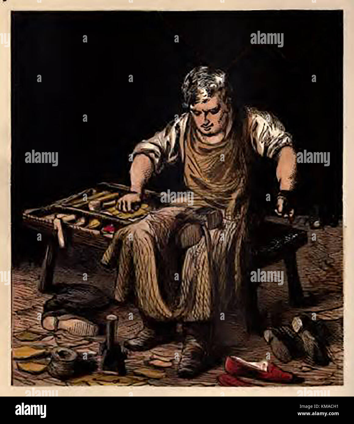 Illustration from a Victorian children's coloured book of occupations and pastimes.- Victorian cobbler, shoemaker, - Stock Image