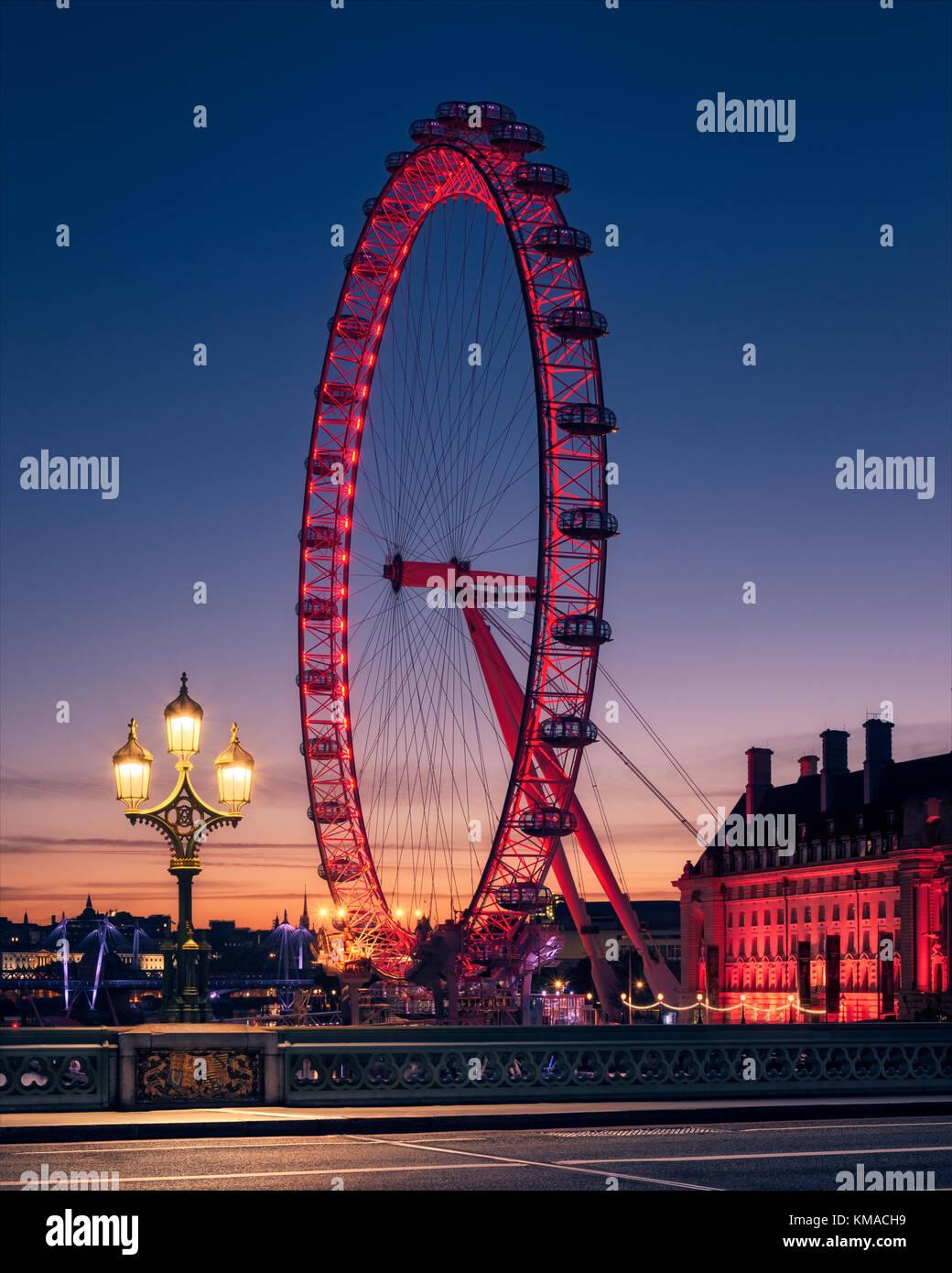 London Eye and Westminster Bridge at Sunrise - Stock Image