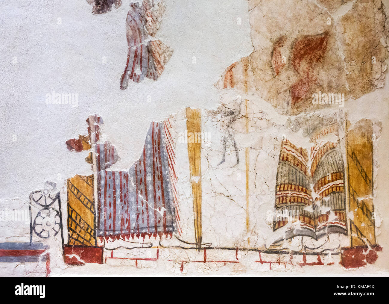 Remains of a fresco in the museum at Mycenae, Mikines, Peloponnese, Greece - Stock Image