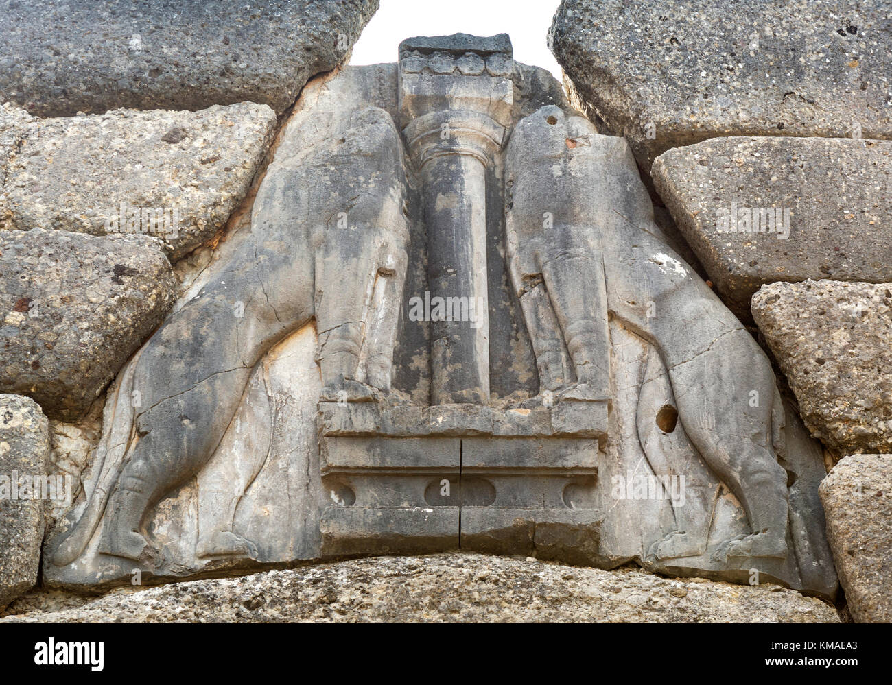 The Lion Gate at Mycenae, Mikines, Peloponnese, Greece - Stock Image