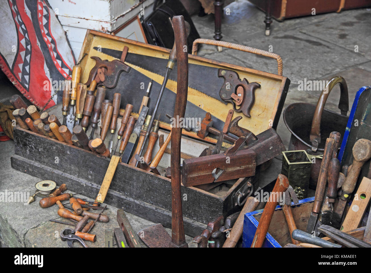 Box Of Old Woodworking Hand Tools For Sale On Market Stall Stock Photo Alamy