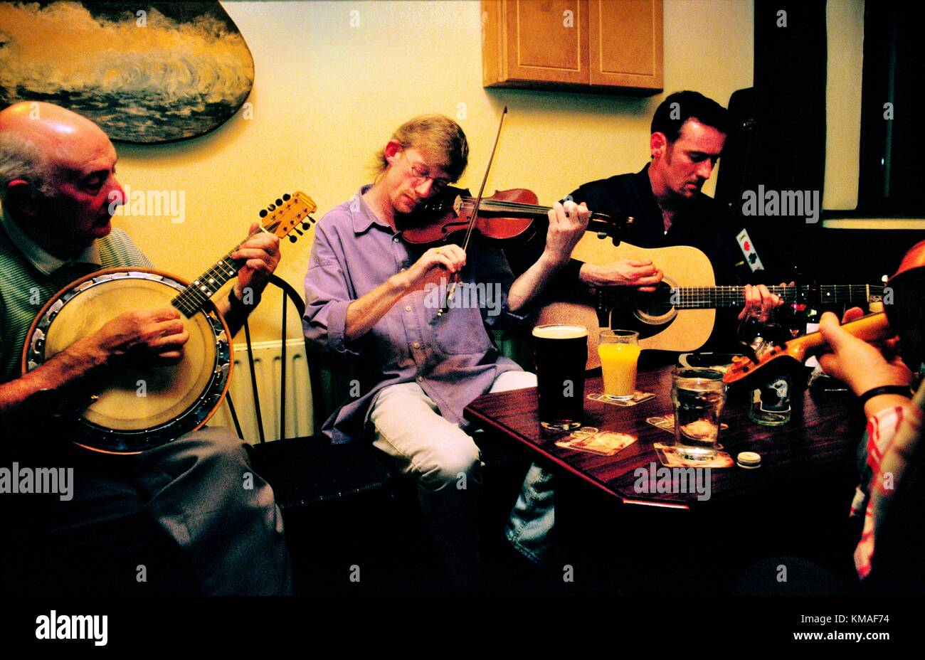 Irish musicians in pub called the Clew Bay on Achill Island, County Mayo, west Ireland. - Stock Image