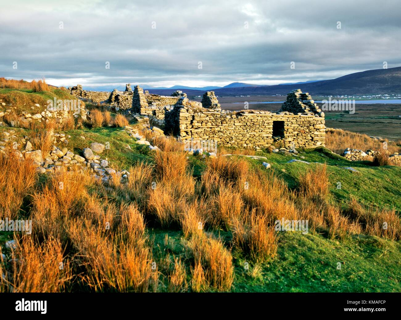 The ruins of the village of Slievemore on Achill Island, County Mayo, Ireland. Deserted in the years of the Great - Stock Image