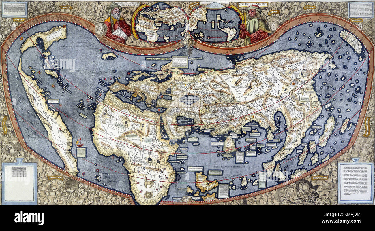 Map of the world 1507 first use of the term america to stock map of the world 1507 first use of the term america to describe the continent of that name with a small portrait of vespucci appears at the top of gumiabroncs Images