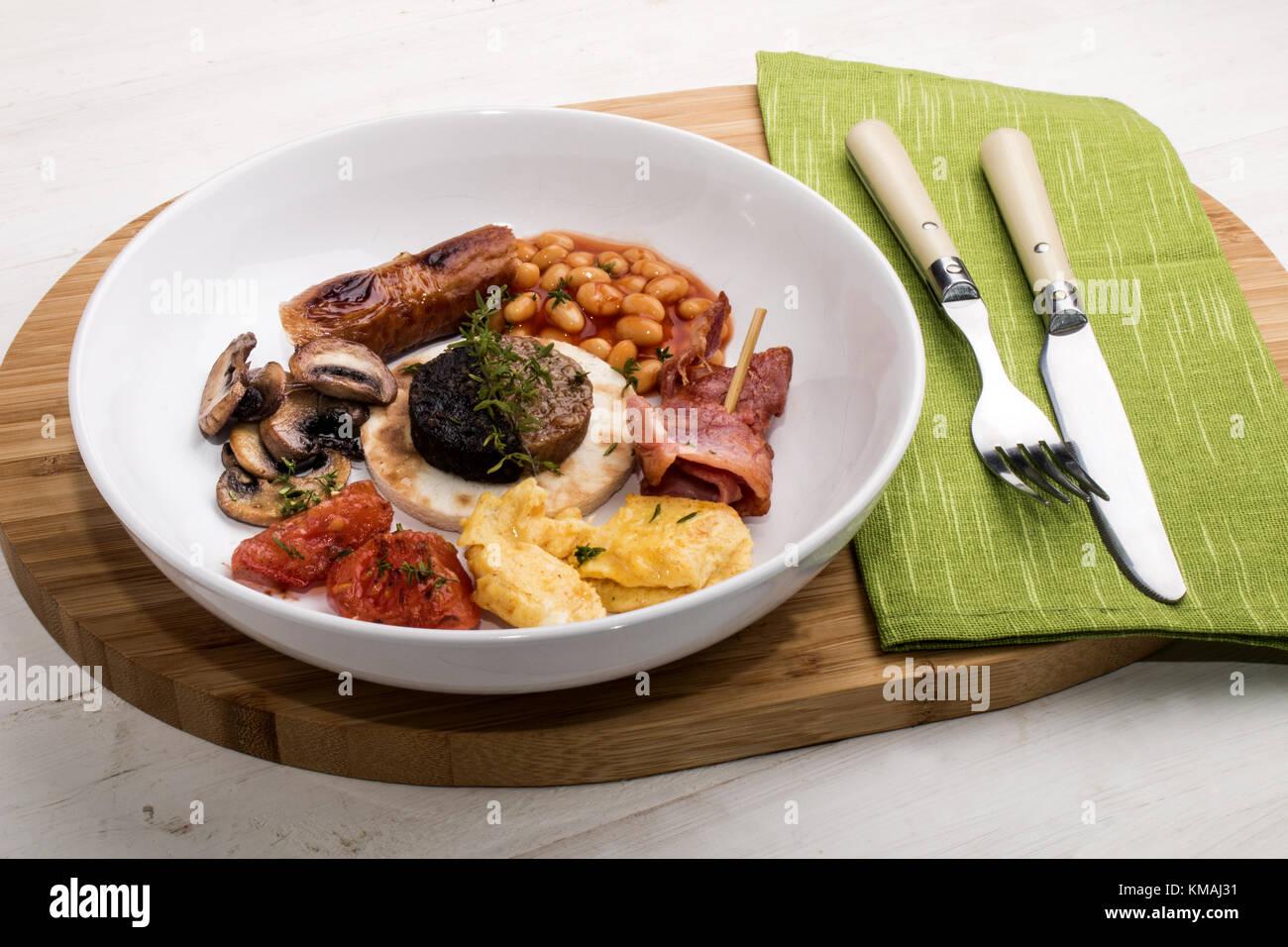 Fine Dinning In Ireland With Irish Breakfast In A Deep Plate