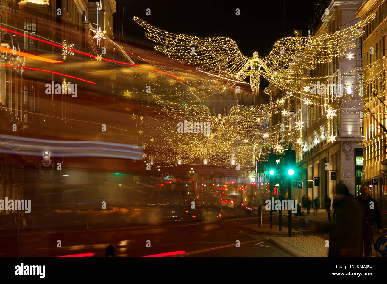 LONDON, UK   DECEMBER 4th, 2017: Christmas Lights On Regents Street St  James. Beautiful Christmas Decorations Attract Shoppers And Tourists During  Th