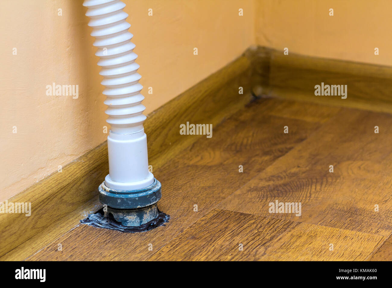 Sewer Drain Pipe Under The Kitchen Sink Stock Photo Alamy