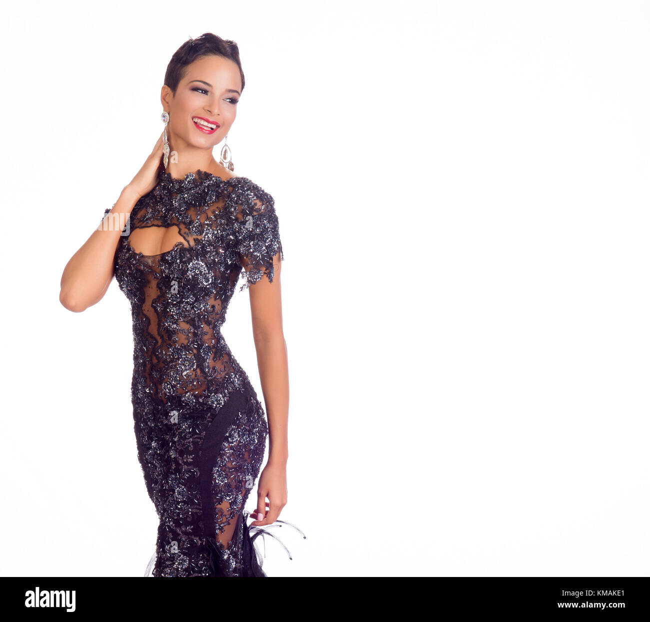 DORAL, FL - JANUARY 23: Kaci Fennell, Miss Jamaica 2014 poses is her evening gown for The 63rd Annual MISS UNIVERSE - Stock Image