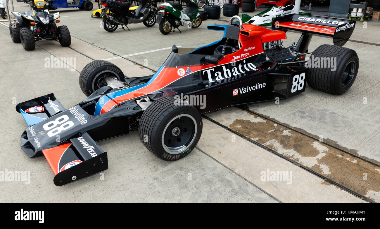 A 1975 Shadow DN5 Formula One Car, previously driven by Tom Pryce, on display at the 2017  Silverstone Classic - Stock Image