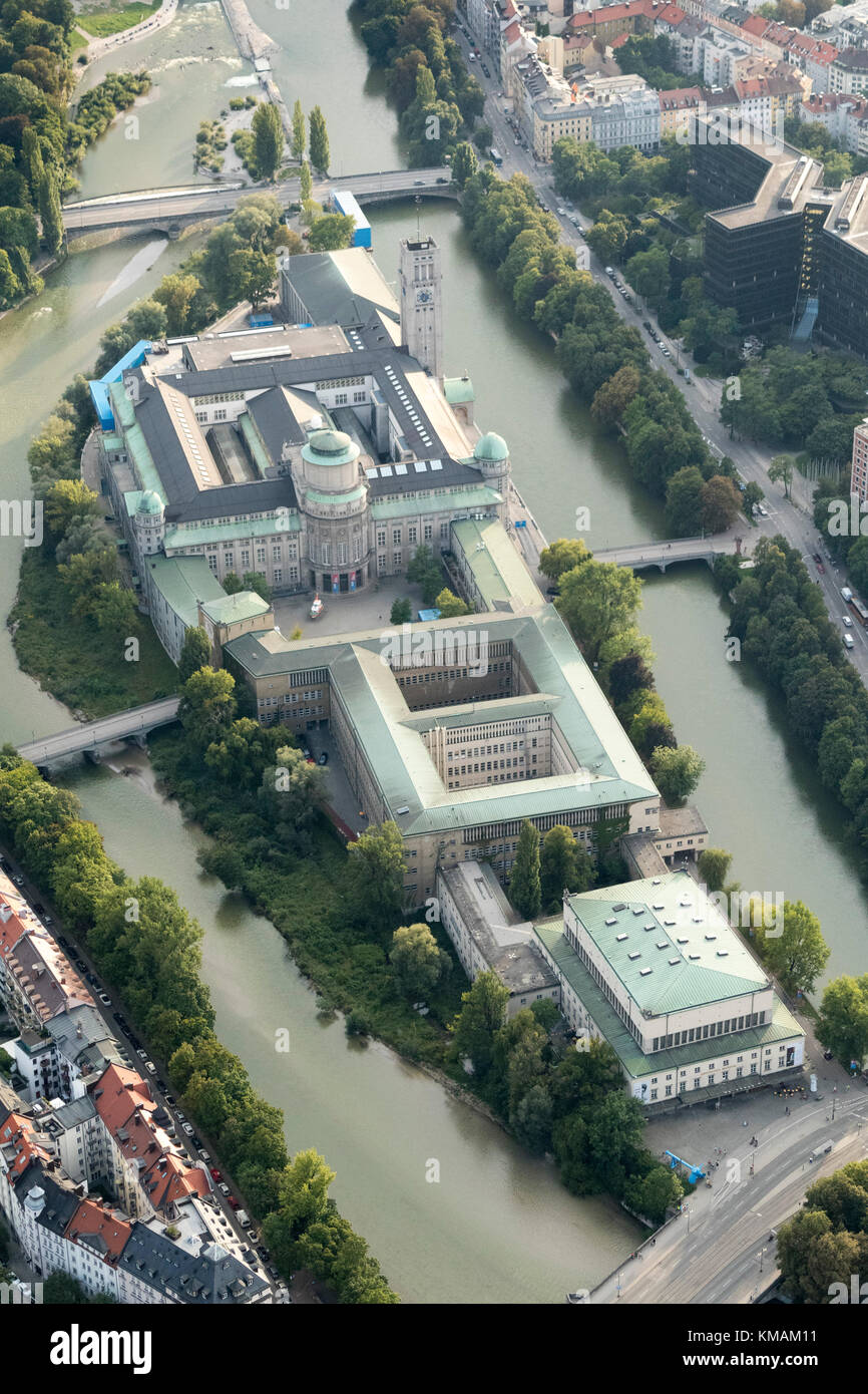 aerial view of The Deutsches Museum, Munich, Bavaria, Germany - Stock Image