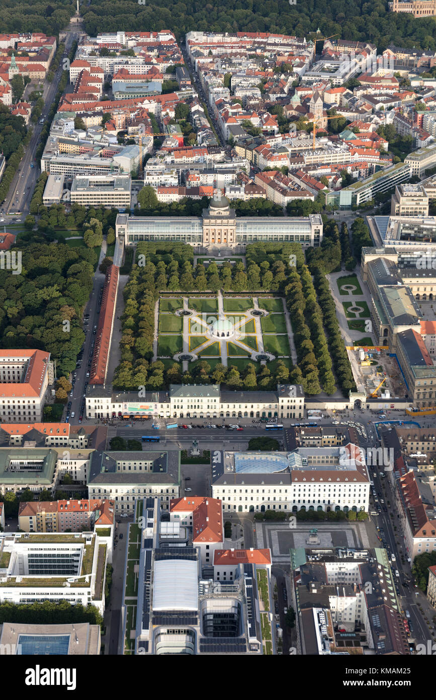 aerial view of the area surrounding the Hofgarten, Munich, Bavaria, Germany - Stock Image