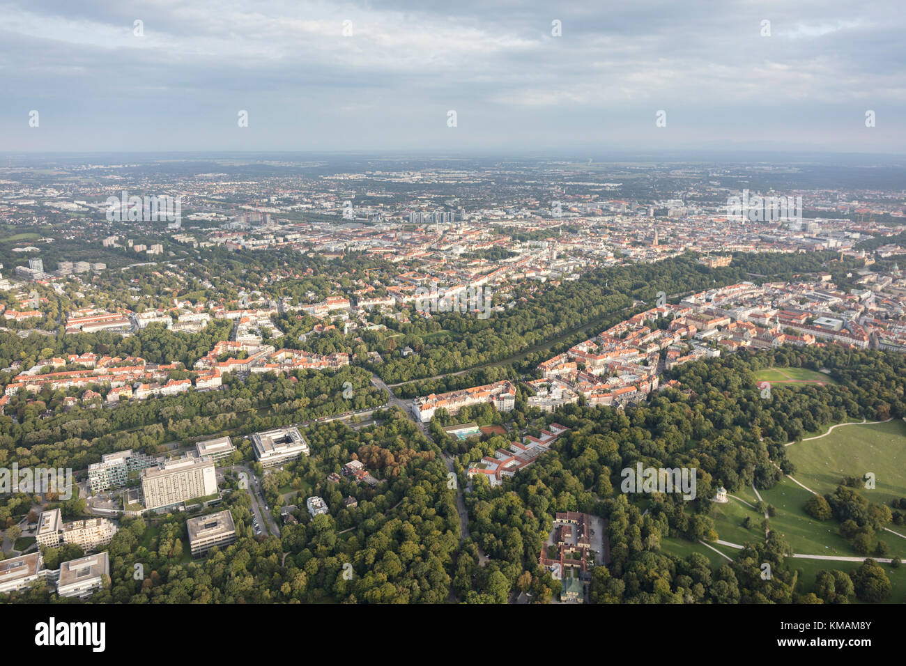 aerial view of the English Garden and surrounding suburbs, Munich, Bavaria, Germany - Stock Image
