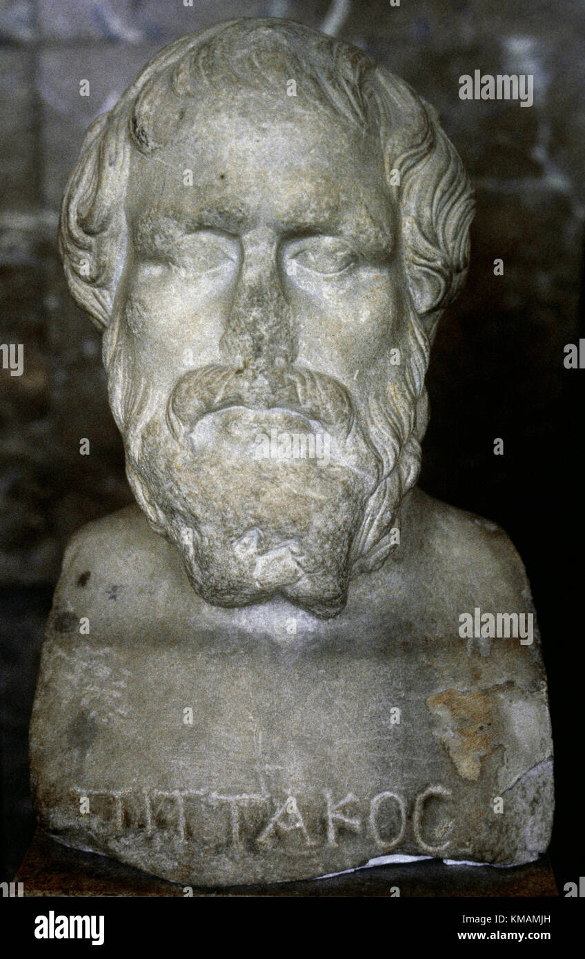Pittacus of Mytilene (640-568 BC). Ancient Mytilenaen military general and one of the Seven Sages of Greece. Marble Stock Photo