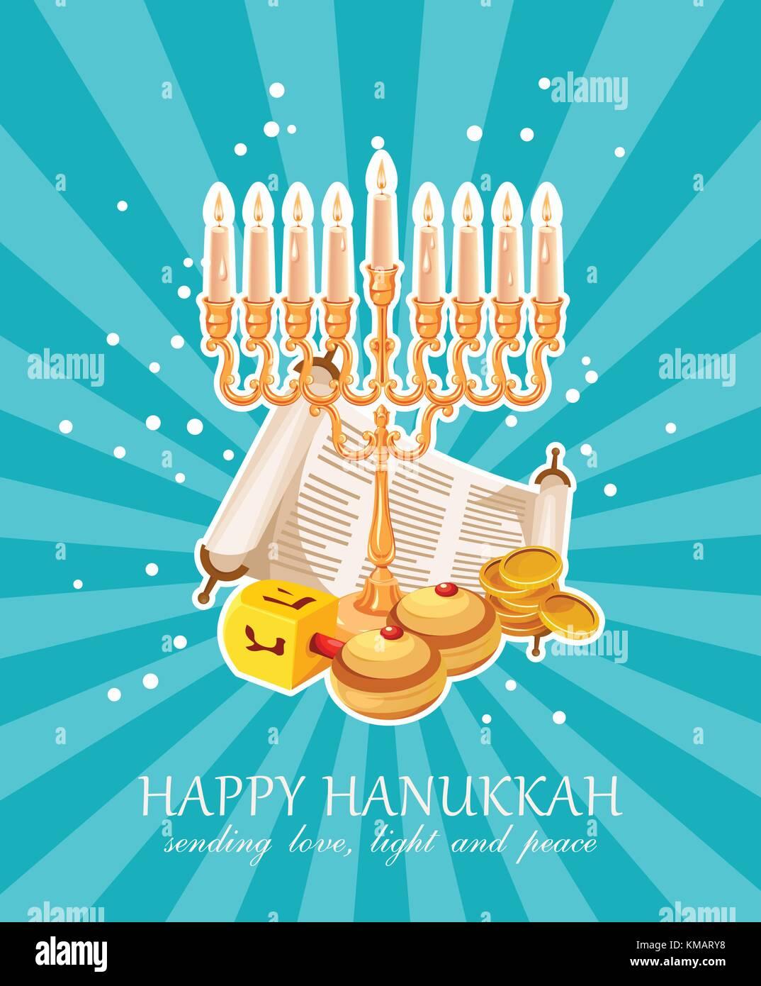 Happy hanukkah vector greeting card in modern style stock vector art happy hanukkah vector greeting card in modern style m4hsunfo