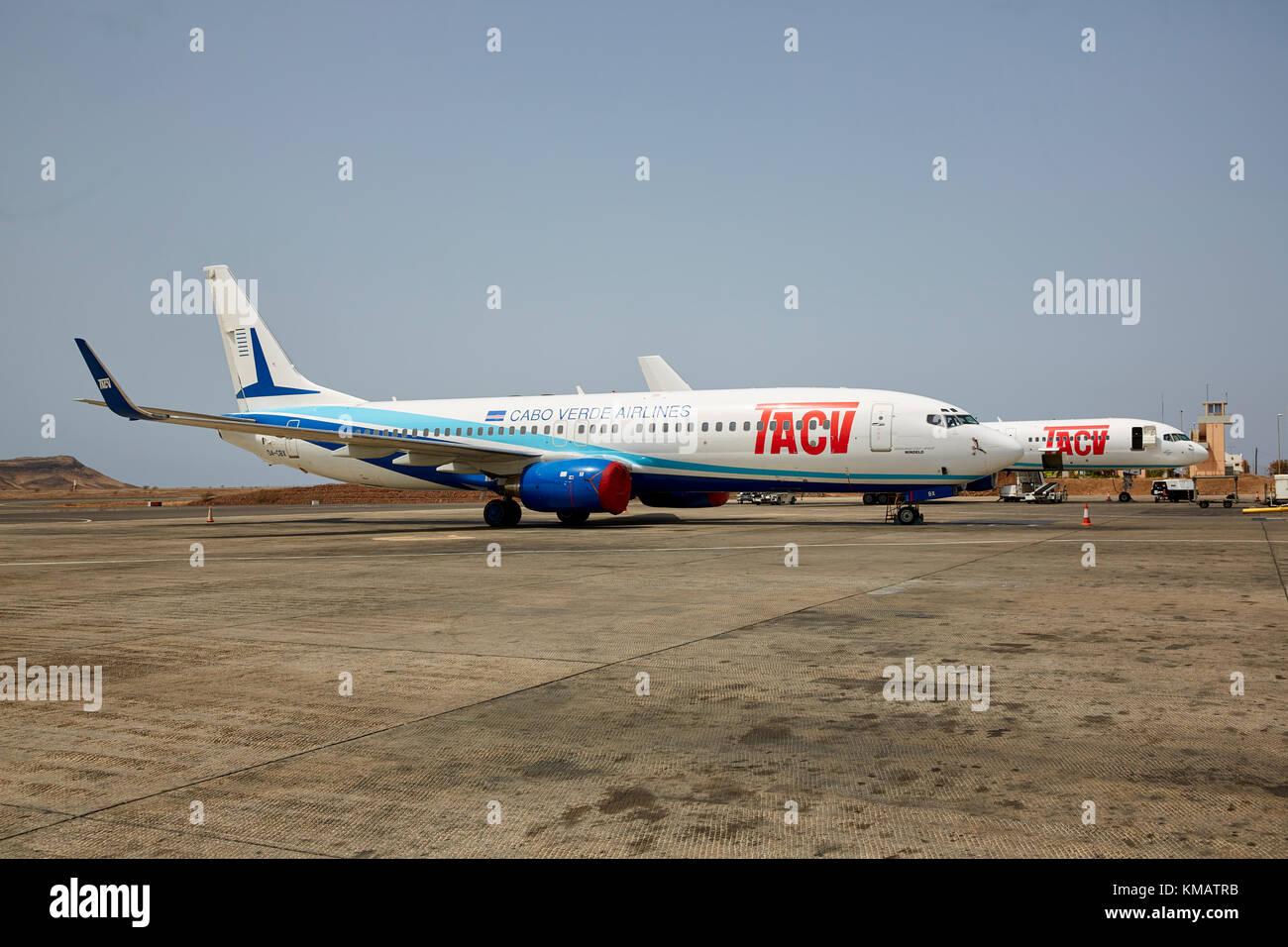 TACV Cabo Verde Airlines, Cape Verdan Airlines, Boeing 737, Santiago, Cape Verde (Cabo Verde) - Stock Image